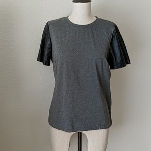 J.Crew Faux Leather Sleeve Blouse